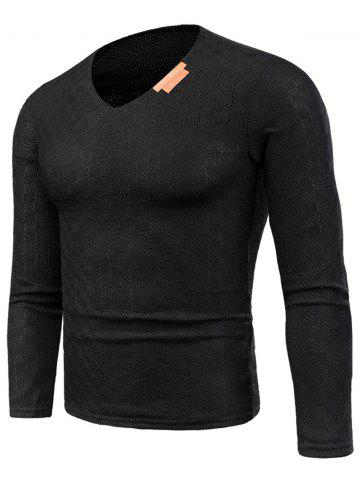 Outfit Knitted V Neck Long Sleeve Applique T-shirt