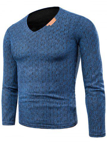 Fancy Knitted V Neck Long Sleeve Applique T-shirt