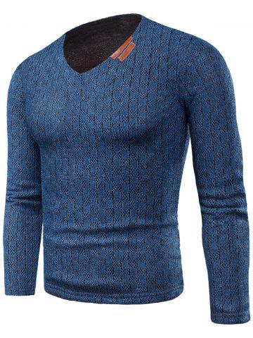 New V Neck Applique Knitted Fleece T-shirt