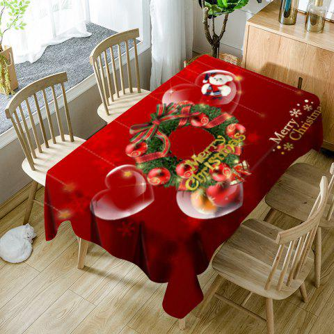 Fancy Christmas Wreath Bear Heart Print Waterproof Table Cloth
