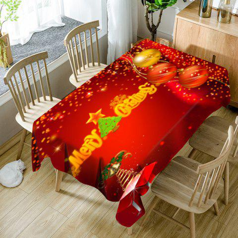 Chic Merry Christmas Tree Balls Printed Waterproof Table Cloth