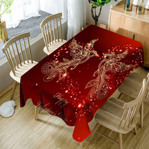 Best Happy Valentine's Day Heart Two Birds Printed Waterproof Table Cloth