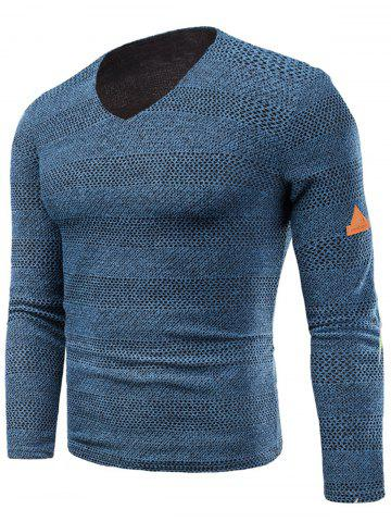 Shops V Neck Long Sleeve Fleece Knitted T-shirt