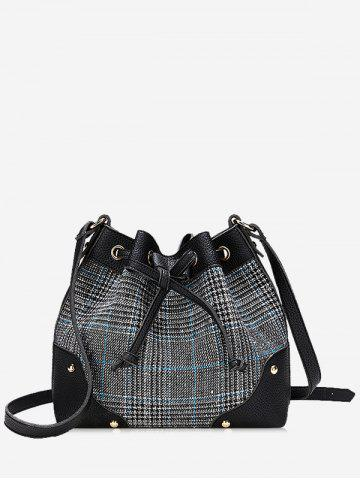 Outfit Plaid Crossbody Bucket Bag with Drawstring