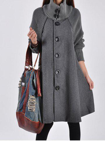 Knitted Sleeve Single Breasted A-line Coat