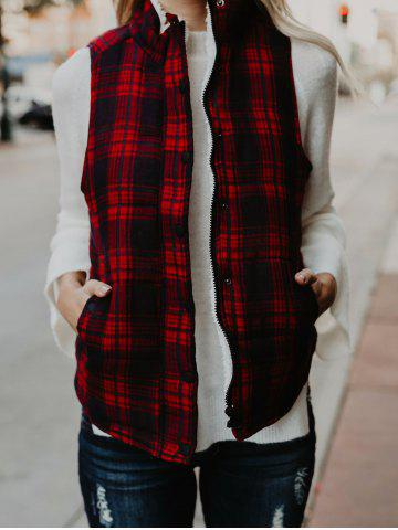 Chic Zip and Button Plaid Quilted Vest