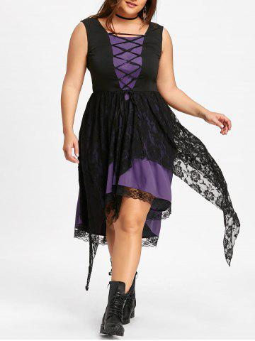 Plus Size Sleeveless Lace Up Handkerchief Dress