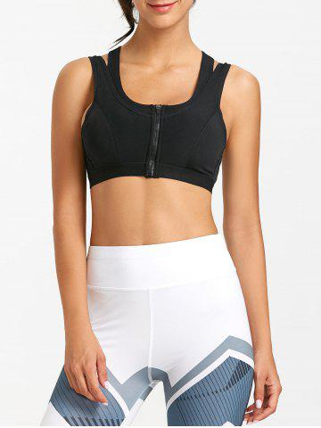 Cutout Racerback Zip Front Sports Bra