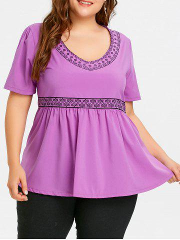 Best Plus Size Print Empire Waist Peplum Top
