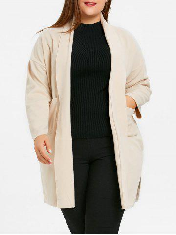 Cheap Plus Size Open Front Shawl Neck Coat with Slit