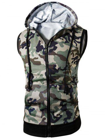 Fancy Kangaroo Pocket Zip Up Hooded Camouflage Vest