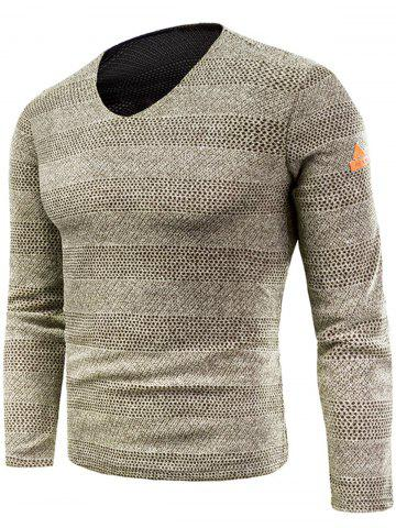 Unique V Neck Long Sleeve Knitted T-shirt