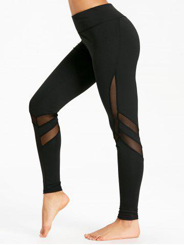 Chic High Rise Workout Leggings with Mesh Panel