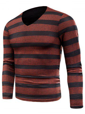 Fashion Knitted V Neck Long Sleeve Stripe T-shirt