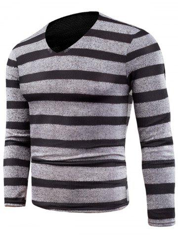Affordable Knitted V Neck Long Sleeve Stripe T-shirt