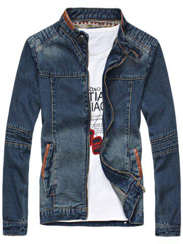 Zip Up PU Leather Panel Denim Jacket
