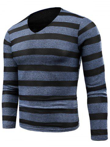New Knitted V Neck Long Sleeve Stripe T-shirt