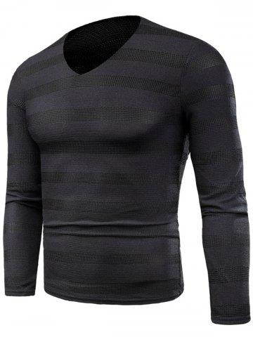 Online Knitted V Neck Long Sleeve Stripe T-shirt