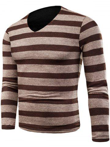 Cheap Knitted V Neck Long Sleeve Stripe T-shirt