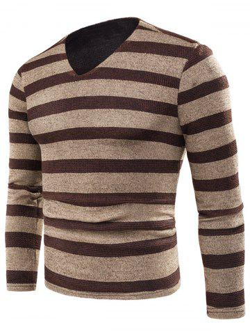 Outfits V Neck Stripe Knitted Fleece T-shirt