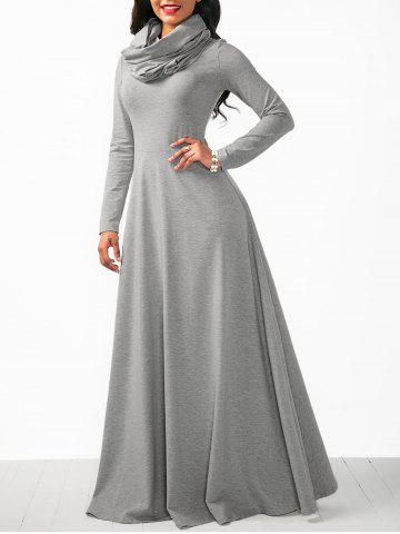 Maxi Long Sleeve Cowl Neck Dress