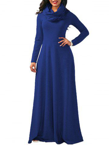 Unique Maxi Long Sleeve Cowl Neck Dress