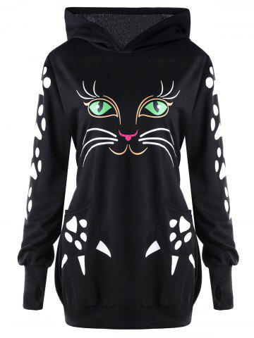 Discount Plus Size Cat Pattern Hoodie with Ears