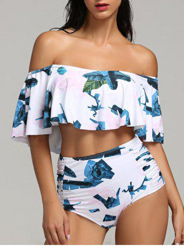 Discount Tropical Leaf High Waist Flounce Bikini Set