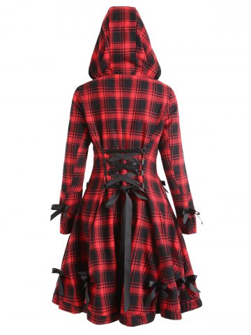 Discount Button Up Plaid Hooded Skirted Coat
