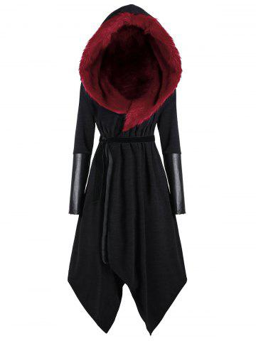 Affordable Asymmetric Plus Size Hooded Faux Fur Insert Coat