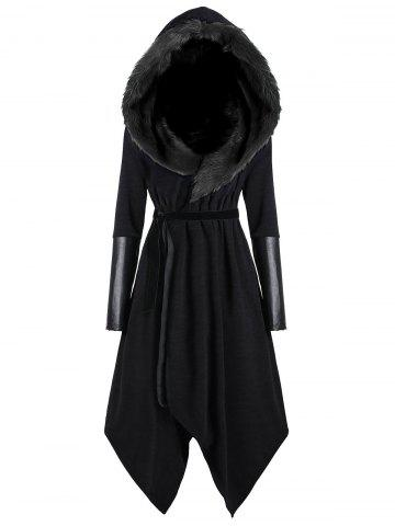 Unique Asymmetric Plus Size Hooded Faux Fur Insert Coat