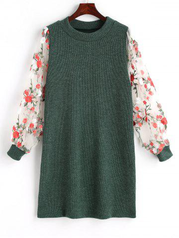 New Mesh Panel Floral Mini Knit Dress