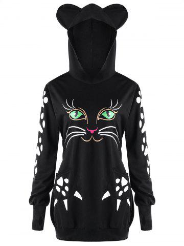 Online Plus Size Cat Pattern Hoodie with Ears