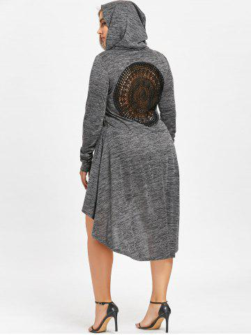 Unique Plus Size Cutwork Dip Hem Hooded Dress