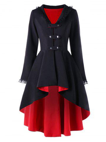 New High Low Lace Trimmed Gothic Coat