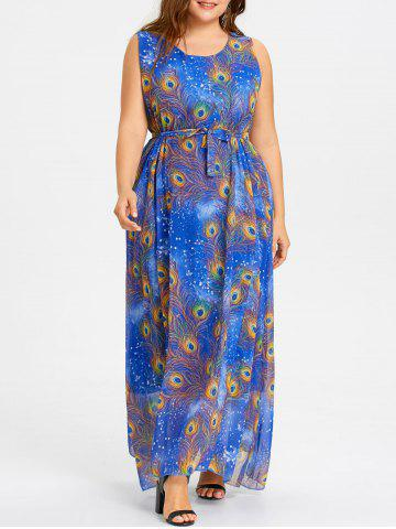 Affordable Plus Size Peacock Feather Print Chiffon Maxi Dress