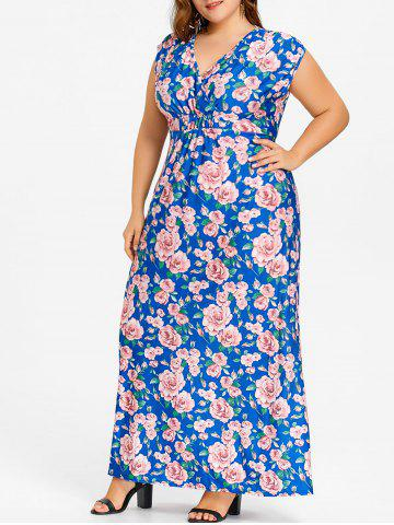 Unique Plus Size Flower Print Long V Neck Dress