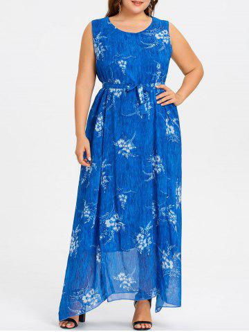 New Plus Size Long Floral Print Chiffon Dress