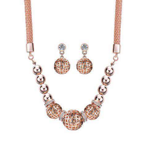 Shop Fake Diamond Hollow Out Beads Pendant Necklace with Earrings