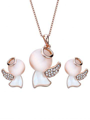 Hot Faux Diamond Doll Wing Pendant Necklace and Earrings