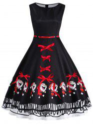 Christmas Santa Claus Print Vintage Dress -