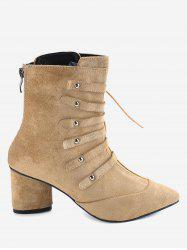 Pointed Toe Lace Up Chunky Heel Boots -