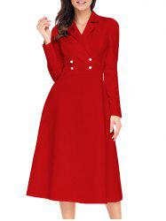 Button A-line Lapel Collar Midi Dress -