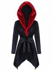 Faux Fur  Trimmed Asymmetric Hooded Coat -