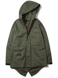 High Low Hem Flap Pocket Hooded Jacket -