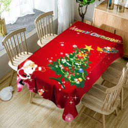 Santa Claus and Christmas Tree Printed Waterproof Table Cloth -