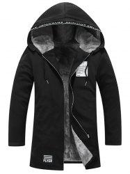 Zip Up Graphic Patch Hooded Flocking Coat -