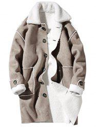 Borg Collar Shearling Coat with Embroidery -
