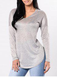 Elbow Patches Slit Long Sleeve T-shirt -