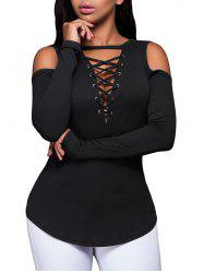 Ribbed Lace Up Open Shoulder T-shirt -